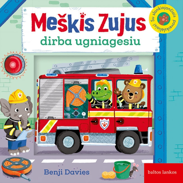 Meškis Zujus dirba ugniagesiu paveikslėlis