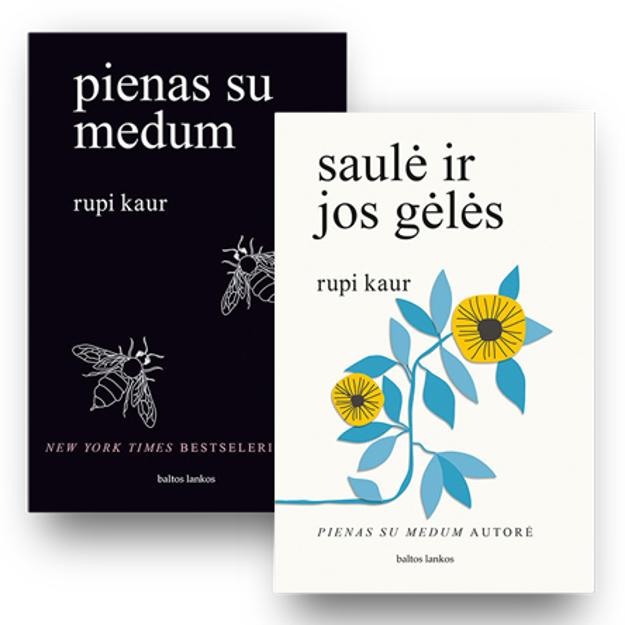 Rupi Kaur 2 knygų rinkinys: pienas su medum + saulė ir jos gėlės paveikslėlis