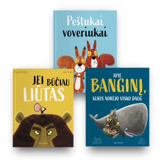 Rachel Bright 3 knygų rinkinys: Jei būčiau liūtas + Peštukai voveriukai + Apie banginį, kuris norėjo visko paveikslėlis