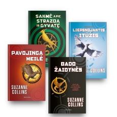 Suzanne Collins 4 knygų rinkinys: Bado žaidynės + Pavojinga meilė + Liepsnojantis įtūžis + Sakmė apie strazdą ir gyvatę paveikslėlis