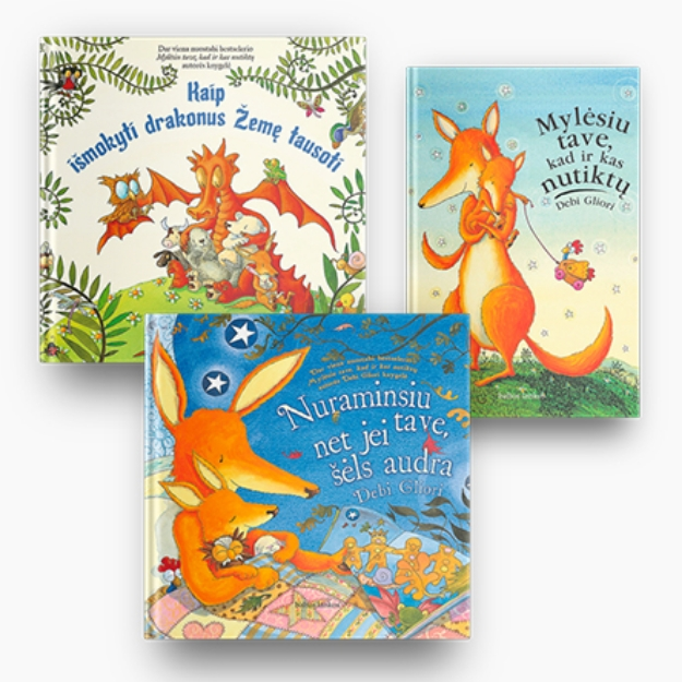 Debi Gliori 3 knygų rinkinys: Mylėsiu tave, kad ir kas nutiktų + Nuraminsiu tave, net jei šėls audra + Kaip išmokyti drakonus Žemę tausoti paveikslėlis